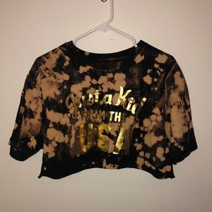 Tops - Bleached USA Graphic Crop Top